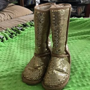 Gold sequin boots size 3